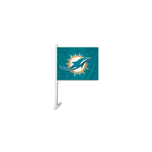 Fremont Die Inc Miami Dolphins Car Flag With Wall Brackett Car Flag