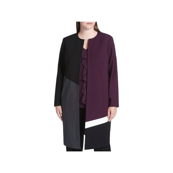 21a78409e4129 Shop Calvin Klein Womens Plus Topper Jacket Patchwork Long - Free Shipping  On Orders Over  45 - Overstock - 22989969