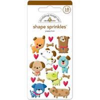 Doodlebug Sprinkles Adhesive Glossy Enamel Shapes 18/Pkg-Puppy Love Shapes