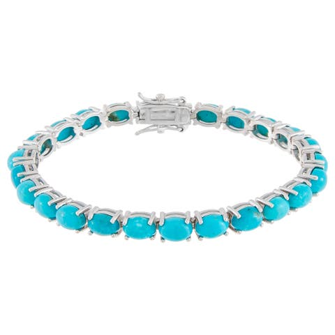 Oval-Cut Cabochon Kingman Turquoise Tennis Bracelet, Sterling Silver