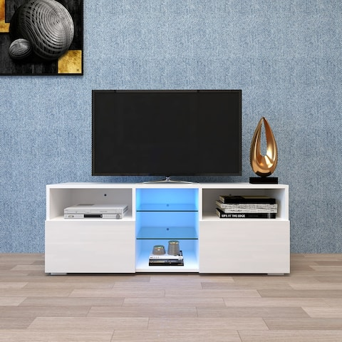 Modern Minimalist TV Cabinet Living Room with High-Gloss LED Lights