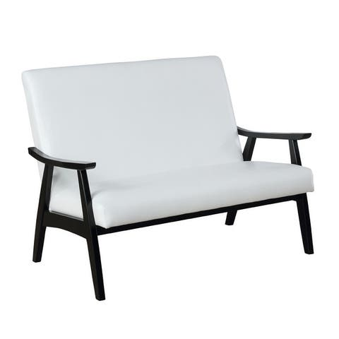 Furniture of America Balf Contemporary Faux Leather Loveseat Bench