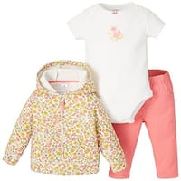 Carters Baby Girls 3-Piece Floral Fox Hoodie Set 6 Month Pink/yellow/white