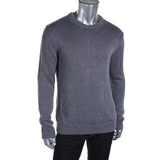 The Men's Store Mens Linen Knit Crewneck Sweater