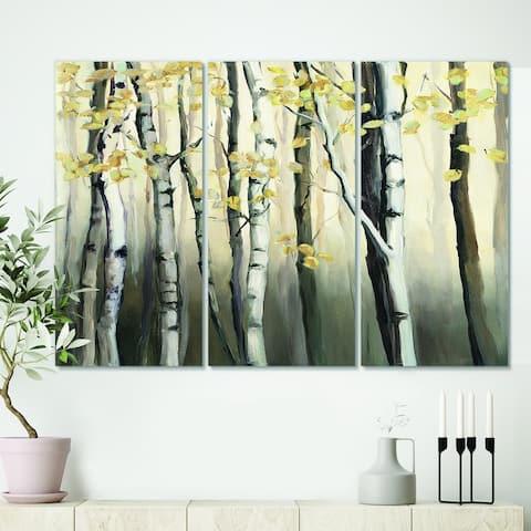 Designart 'Golden Birch Forest IV' Cabin & Lodge Canvas Artwork