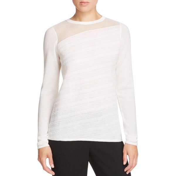 77f9128dbf15 Shop Elie Tahari Womens Yael Pullover Sweater Merino Wool Illusion ...