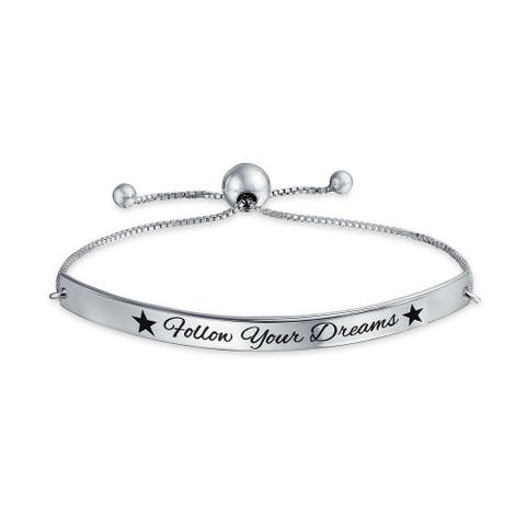 Bff Follow Your Dreams Inspirational Mantra Bolo Bracelet For Women Graduation Gift 925 Sterling Silver Adjustable