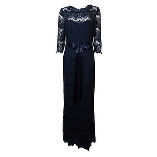 Xscape Women's Belted Illusion Lace Sheath Gown