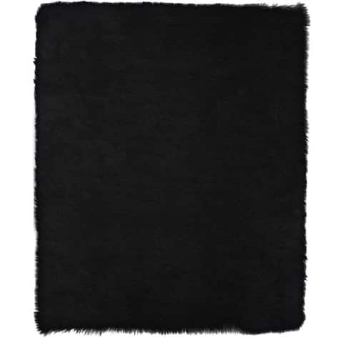 ECARPETGALLERY Handmade Faux Sheepskin Plush Black Rug - 4'0 x 6'0