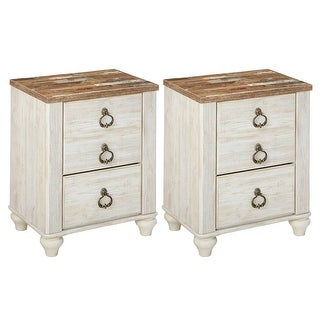 Ashley Furniture B267-92 Two-Tone Finish Willowton Nightstand w/ Side Roller Glides (2 Pack)