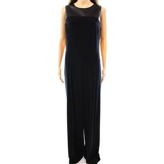 Lauren Ralph Lauren NEW Black Womens Size 12 Faux Leather Jumpsuit