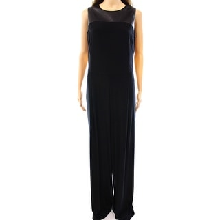 Lauren Ralph Lauren NEW Black Womens Size 12 Faux Leather Trim Jumpsuit