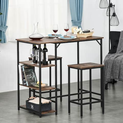 HOMCOM 3 Piece Kitchen Bar Table and Chairs with Storage Shelf, Dining Room Industrial Pub Desk and Stools, Rustic Brown