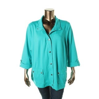Karen Scott Womens Plus Cuff Sleeves Snap-Front Jacket - 2X