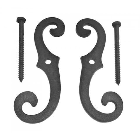 "Black Cast Iron Shutter Dog Holders 6.5 "" L Antique Decorative S Style Black Rust Resistant Tieback Hardware with Screws"