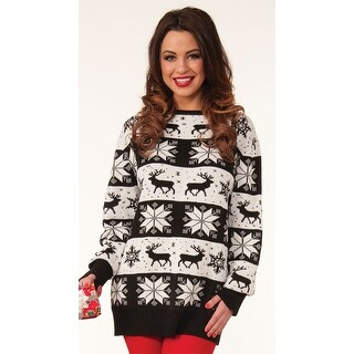 Snow Drift Holiday Sweater, Black And White Sweater - as shown