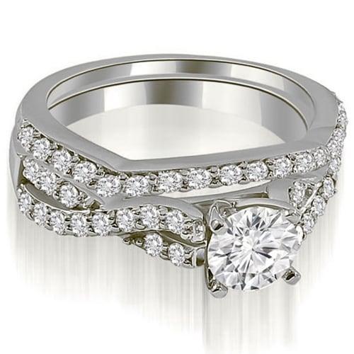 1.40 cttw. 14K White Gold Twisted Split Shank Round Cut Diamond Bridal Sett,HI,SI1-2