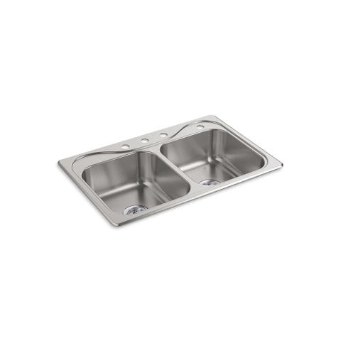 "Sterling 11400-4-NA 33"" X 22"" X 7"" Stainless Steel Double Bowl Sink"