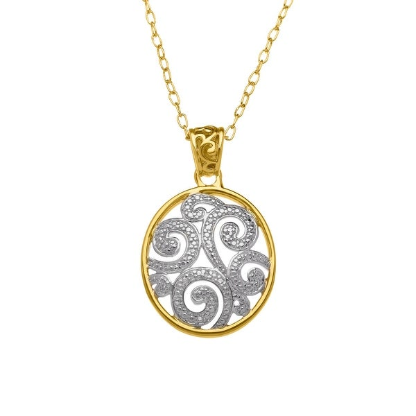 Swirl Pendant with Diamond in 18K Gold Plate - Yellow