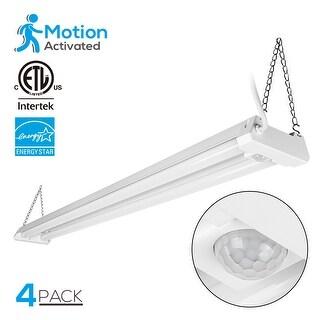 40W 4ftLinkable LED Motion Activated Utility Shop Light, 4100lm, 5000K,Pack of 4