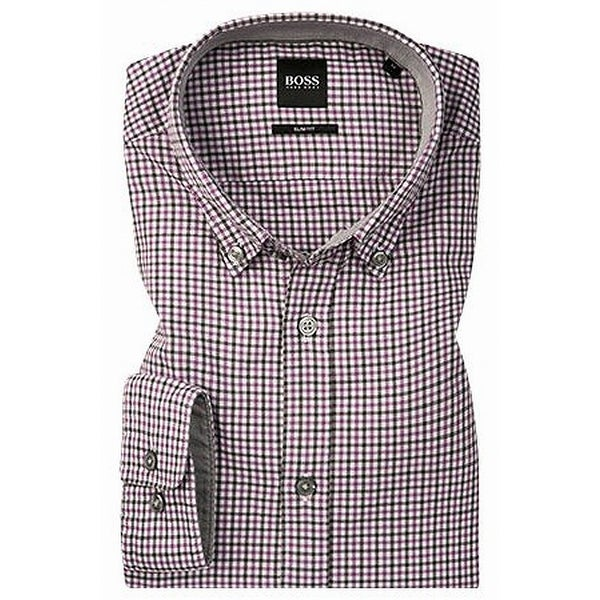 8706bfbbb Shop Hugo Boss Purple Mens Size XL Button Down Slim Fit Plaid Shirt - Free  Shipping Today - Overstock - 28005794