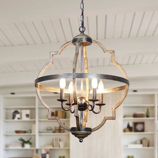 Link to Antique Distressed Wood 4-light Candle Style Chandelier Similar Items in Chandeliers