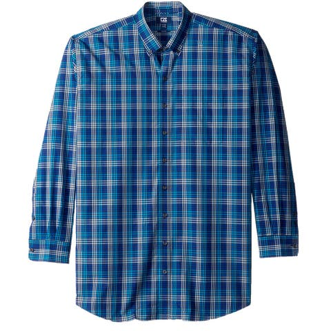 Cutter & Buck Mens Shirt Blue Size Large L Button Down Plaid Long-Sleeve