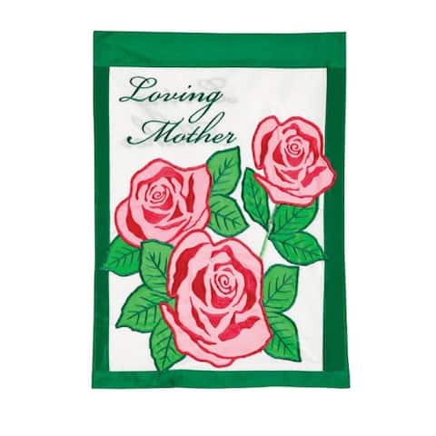 "Pink Roses ""Loving Mother"" Cemetery Garden Flag 18"" x 12.5"" - N/A"