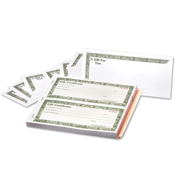 shop 3 part gift certificates w envelope 8 1 2 x 3 1 2 free