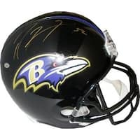Ray Lewis signed Baltimore Ravens Riddell Full Size Replica Helmet 52 gold sig Beckett Hologram