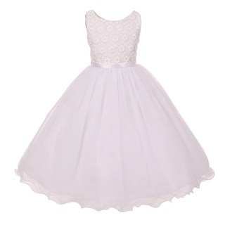 Kids Dream Girls White Tulle Layers Satin Sash Flower Communion Dress 8-14
