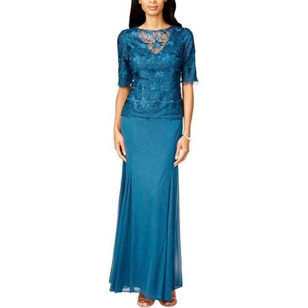 Alex Evenings Womens Semi-Formal Dress Lace Mock 2PC