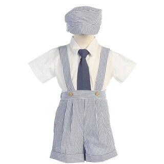 Blue Stripe Seersucker Suspender Shorts Outfit Boys 12M-4T