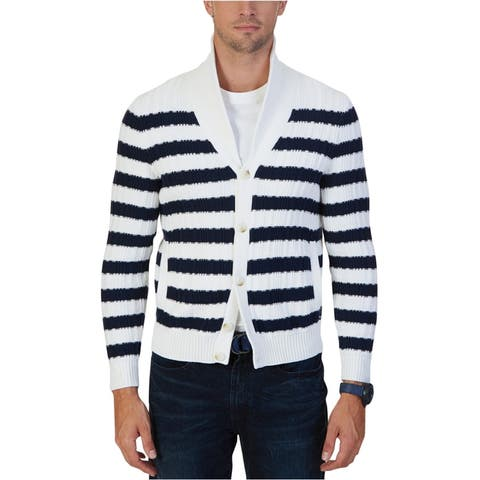 Nautica Mens Textured Cardigan Sweater