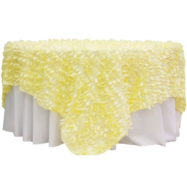 "Leaf Petal Taffeta Table Overlay Topper 90""x90"" Square - Yellow"