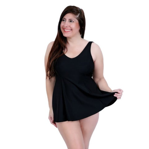 Womens Black Solid Color V-Neckline Princess Seam Swimwear Dress