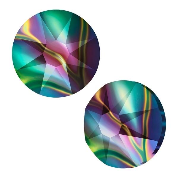 Swarovski Elements Crystal, Round Flatback Rhinestone SS30 6.5mm, 25 Pieces, Crystal Rainbow Dark