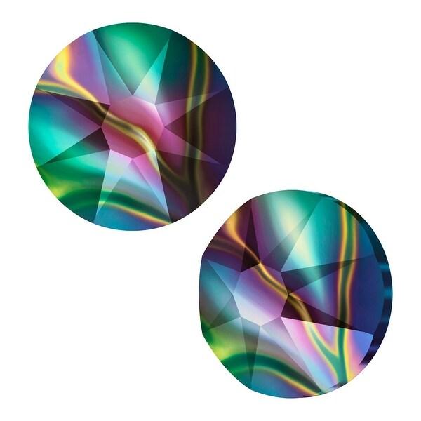 Swarovski Crystal, Round Flatback Rhinestone SS9 2.5mm, 72 Pieces, Crystal Rainbow Dark