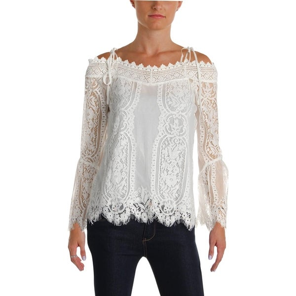 06f829c66736bc Shop Aqua Womens Fitted Top Lace Embroidered - Free Shipping On Orders Over   45 - Overstock - 26038215