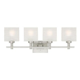 "Westinghouse 6304100 Alexander 31"" Wide 4 Light Bathroom Vanity Light with Glass Shades - Grey"