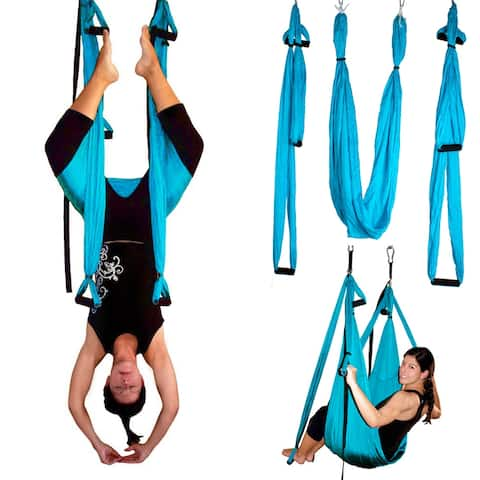 Image Yoga Swing Inversion Sling Trapeze Yoga Hammock Flying Antigravity Blue - SIZE