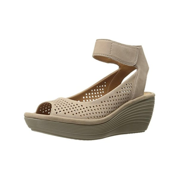 0dac39c34fc Shop Clarks Womens Reedly Salene Wedge Sandals Nubuck Perforated ...
