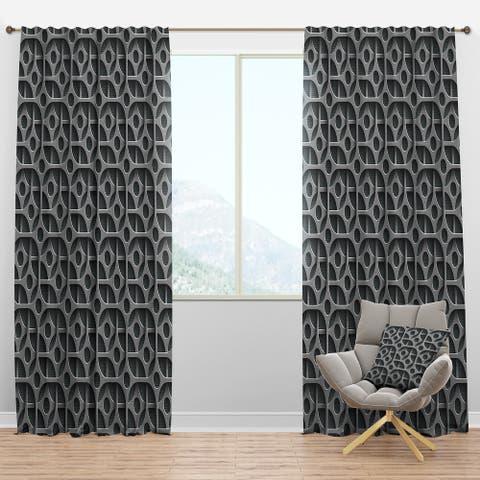 Designart 'Squares Pattern' Scandinavian Blackout Curtain Panel