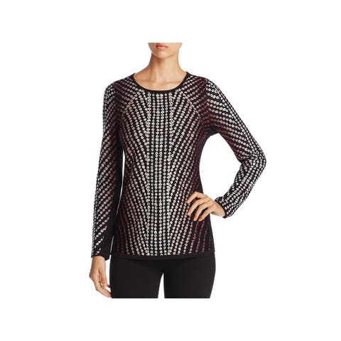 Nic + Zoe Womens Pullover Top Dot Print Crewneck