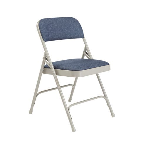 (4 Pack) NPS® 2200 Series Deluxe Fabric Upholstered Double Hinge Premium Folding Chair