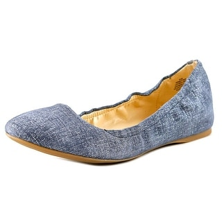 Nine West Misty Ray Women Round Toe Leather Blue Ballet Flats