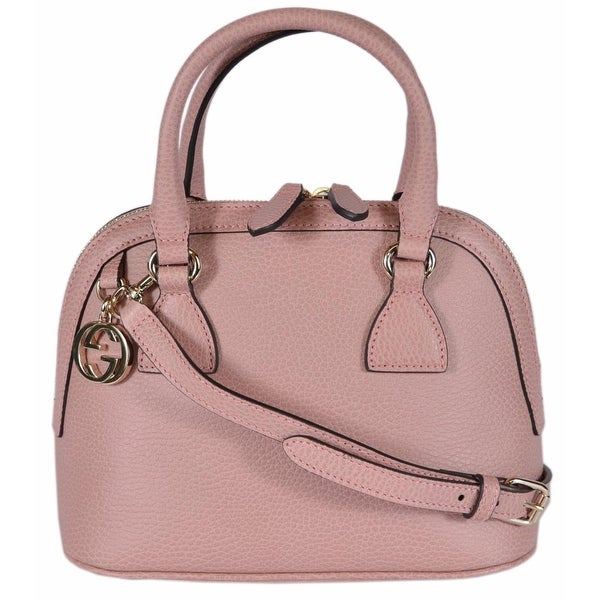 47fd5cc993e9 Gucci 449661 Soft Pink Leather 2-Way Convertible GG Charm Small Dome Purse  - BABY