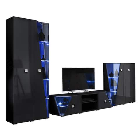 Edge Set TV-BK-CUR Modern Wall Unit Entertainment Center