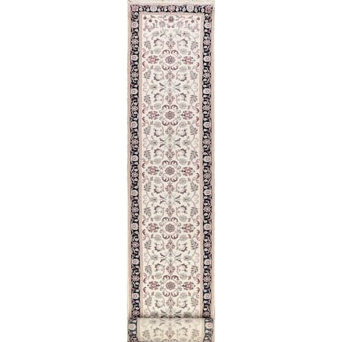 """Floral Agra Oriental Runner Rug Hand-knotted Traditional Wool Carpet - 2'7"""" x 24'0"""""""