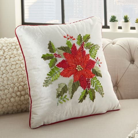 "Mina Victory Holiday Beaded Ribbon Poinsettia Wreath Velvet Throw Pillow 16"" x 16"""